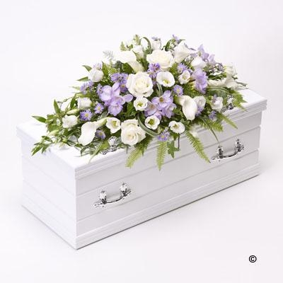 Childrens Casket Spray   Blue and Lilac