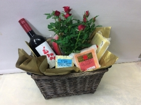 Father's Day Wine, Cheese and Red Rose Plant